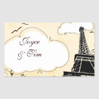 Eiffel Tower with clouds Rectangular Sticker
