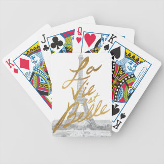 Eiffel Tower with Gold writing Bicycle Playing Cards