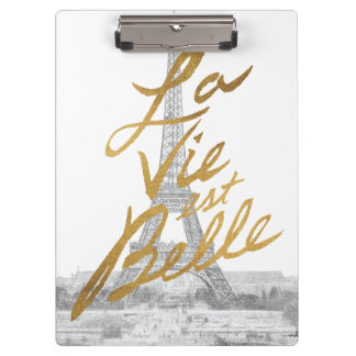 Eiffel Tower with Gold writing Clipboard