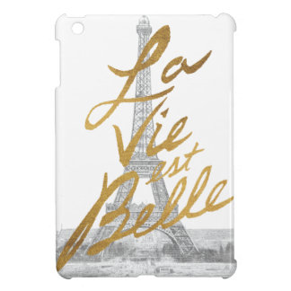 Eiffel Tower with Gold writing iPad Mini Cover