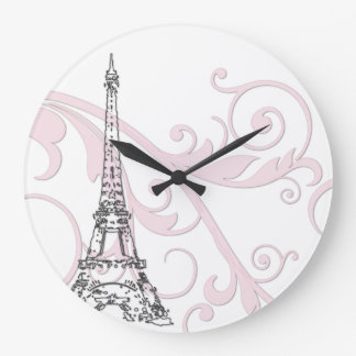 Eiffel Tower with Scrolls Large Clock