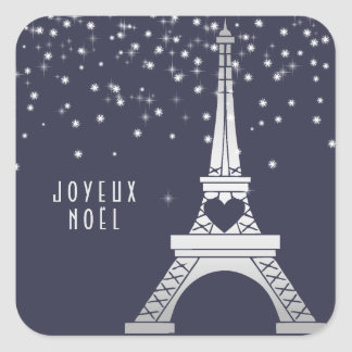 Eiffel Tower with Snow | Merry Christmas in Paris Square Sticker