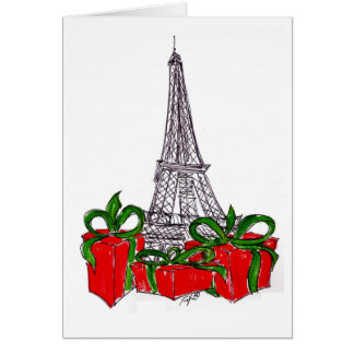 Eiffel Tower with Wrapped Packages Card