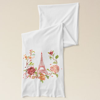 Eiffel Tower within Floral Backdrop Scarf