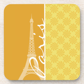 Eiffel Tower; Yellow Orange Paris Drink Coaster