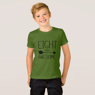 Eight And Awesome 8th Birthday Gift T-Shirt (Light