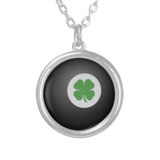 Eight ball bearing an emoji shamrock for good luck silver plated necklace