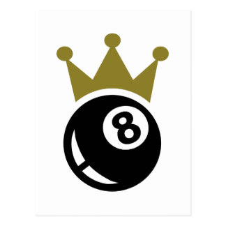 Eight ball billiards crown postcard