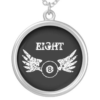 Eight ball with wings - billiards - pool silver plated necklace