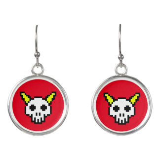 Eight Bit Horned Skull Earrings