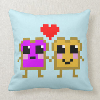 Eight Bit Peanut Butter and Jelly Throw Cushion