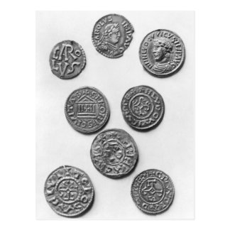 Eight Carolingian coins Postcard
