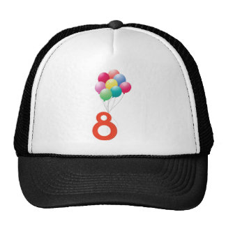 Eight colourful balloons cap