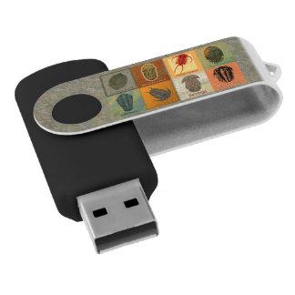 Eight Fossil Trilobites Swivel Flash Drive Swivel USB 2.0 Flash Drive