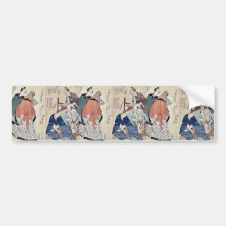Eight Kyōka poets 2 by Yajima, Gogaku Ukiyoe Bumper Sticker