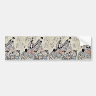 Eight Kyoka poets by Yajima, Gogaku Ukiyoe Bumper Sticker