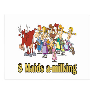 eight maids a-milking 8th eighth day christmas postcard