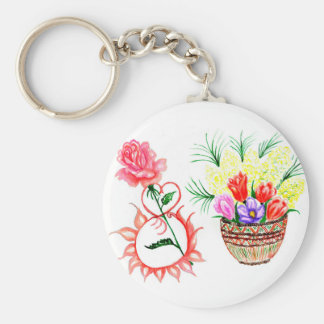 Eight of March Art Basic Round Button Key Ring