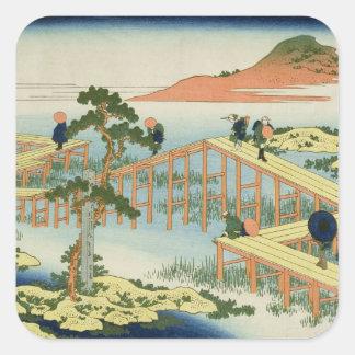 Eight part bridge, province of Mucawa, Japan, c.18 Square Sticker