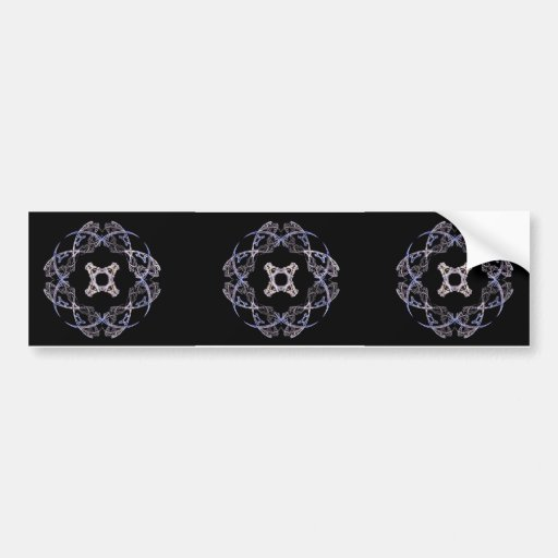 Eight Petal Fractal Art Design in Blue and Brown Bumper Stickers