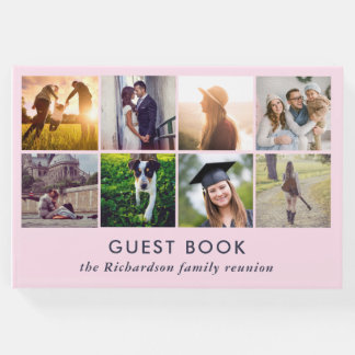 Eight Photo Collage | Trendy Blush Pink Guest Book