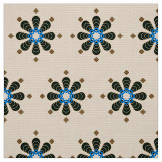 Eight point Mandala, Chocolate, Tan, Beige & Blue Fabric