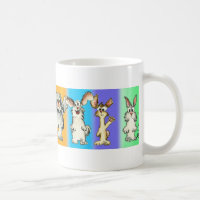 Eight Rabbits Silly- Cartoon Bunnies Coffee Mug