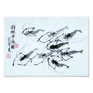 """Eight Shrimps"" in Chinese ink painting Photo Print"