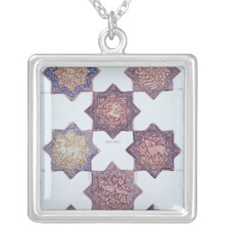 Eight tiles decorated with animals silver plated necklace