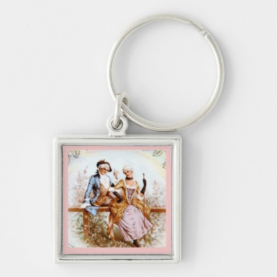 Eighteenth Century French Romance Silver-Colored Square Key Ring