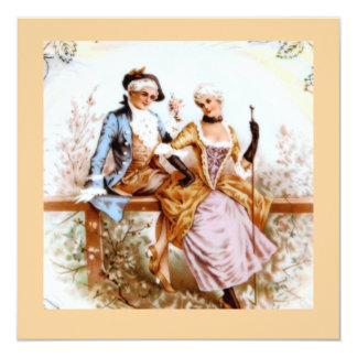 Eighteenth Century French Style Romantic Couple 13 Cm X 13 Cm Square Invitation Card