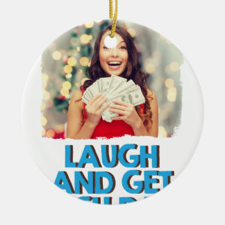 Eighth February - Laugh And Get Rich Day Round Ceramic Decoration