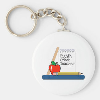 Eighth Grade Teacher (Notebook) Basic Round Button Key Ring
