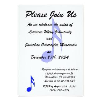 eighth note blue black musical 13 cm x 18 cm invitation card
