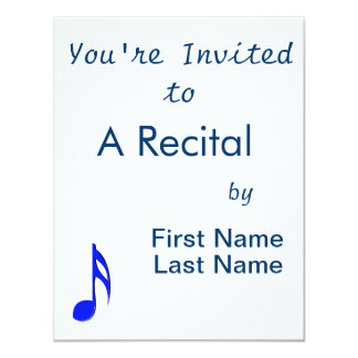 eighth note blue black musical 4.25x5.5 paper invitation card
