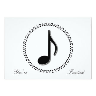 "Eighth Note Music Design 5"" X 7"" Invitation Card"