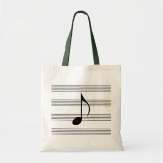 Eighth note on music staff / musical stave stripes tote bag