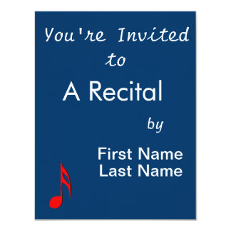 "eighth note red black music design.png 4.25"" x 5.5"" invitation card"