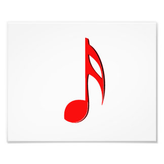 eighth note red black music design.png photographic print