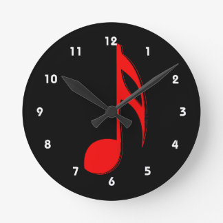 eighth note red black music design.png wallclocks