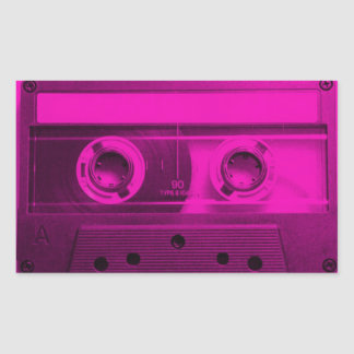 Eighties Love. Hot pink retro cassette tape. Rectangular Sticker