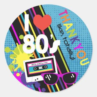 Eighties Thank You Label Round Sticker