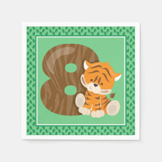 Eigth Birthday | Safari Animals | Tiger Paper Napkin