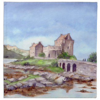 Eilean Donan Castle Watercolor Painting Napkin