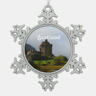 Eileen Donan Castle in Early Autumn Snowflake Pewter Christmas Ornament