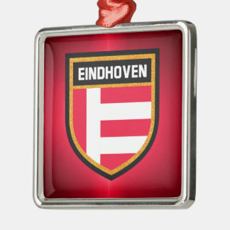 Eindhoven Flag Silver-Colored Square Decoration