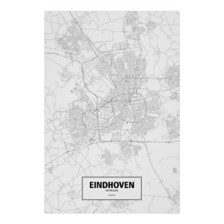 Eindhoven, Netherlands (black on white) Poster