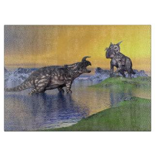 Einiosaurus dinosaurs by sunset - 3D render Cutting Board