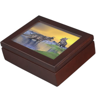 Einiosaurus dinosaurs by sunset - 3D render Keepsake Box