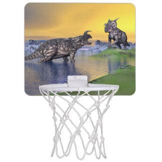 Einiosaurus dinosaurs by sunset - 3D render Mini Basketball Hoop
